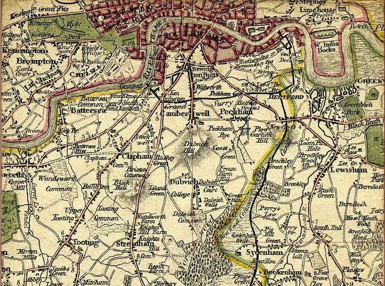 Map South London.South London Map 1800 Newington Butts Wikipedia The