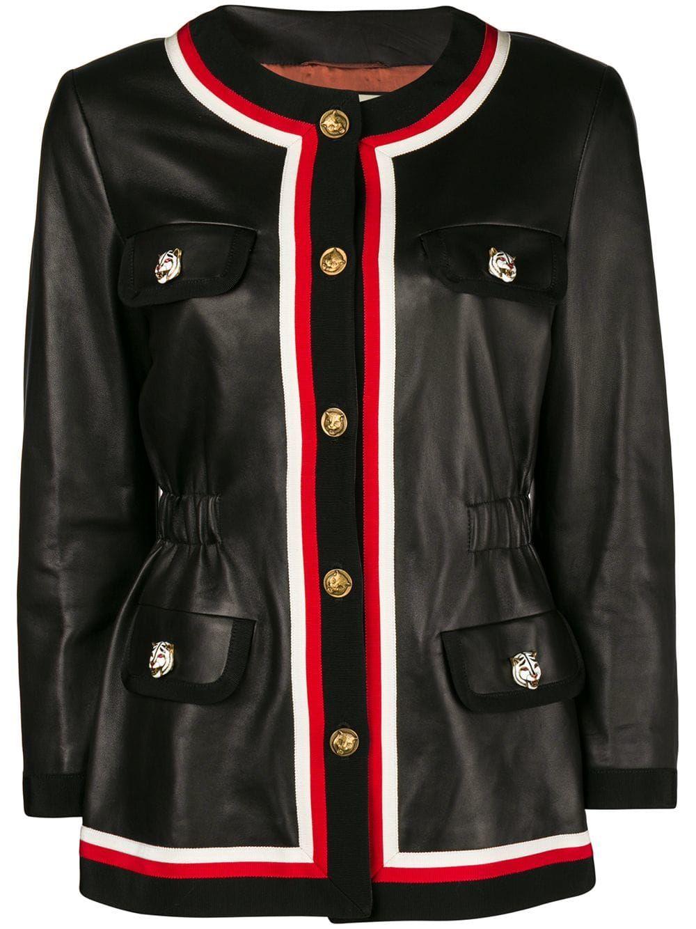 Gucci ribbon trim jacket Black Куртка, Кожаная куртка