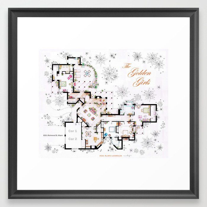 The Golden Girls House floorplan v 2 Framed Art Print