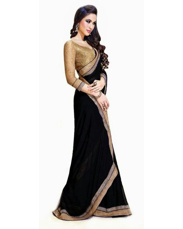 61bc47df03381f New Designer Black with golden Modern Saree With blouse | sareee ...