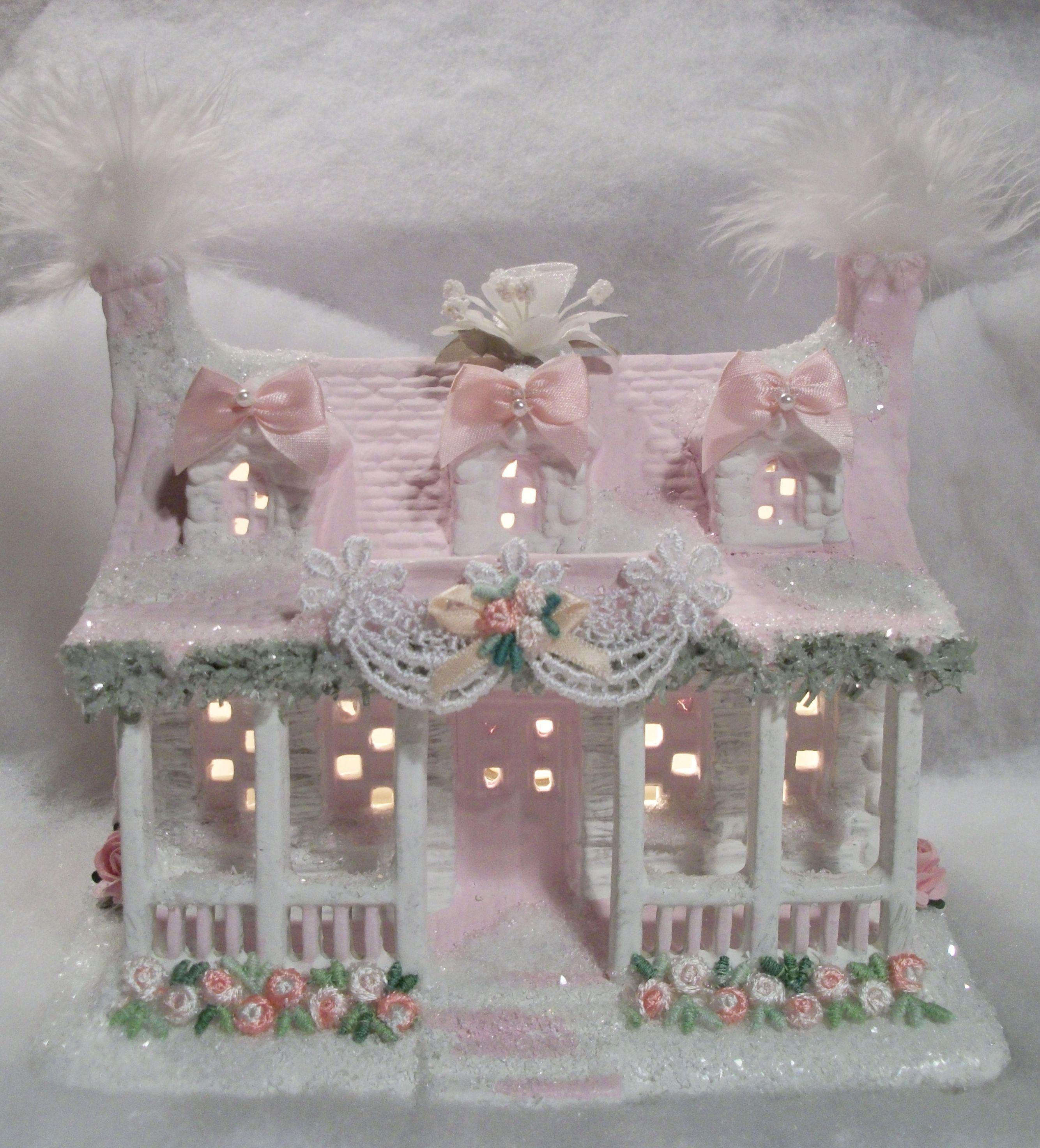 Shabby Chic Christmas Village House Weihnachten