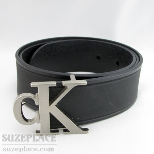 f60f2b3fe066 Calvin Klein Jeans Black Molded Rubber Black Belt CK Buckle Made in The USA  SuzePlace.com