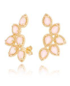 ear cuff rosa leitosa dourado semijoias