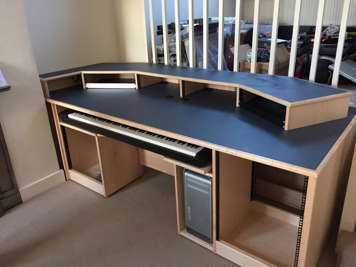 recording studio furniture custom built maple desk with blue denim