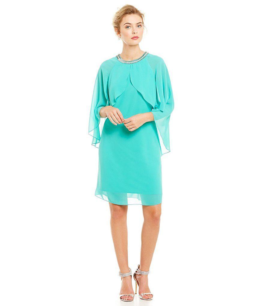 Sl sl fashion dresses - S L Fashions Beaded Neck Chiffon Cape Dress