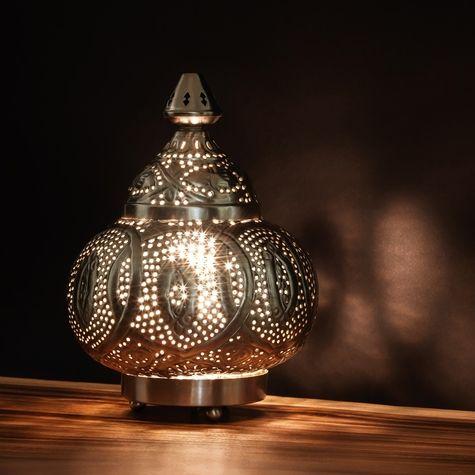 Lantern shaped metal table lamp artemano