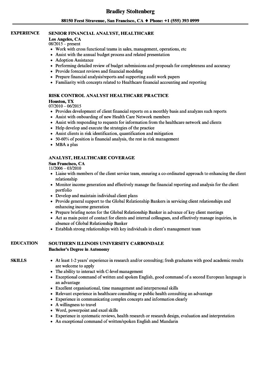 analyst healthcare resume sample resumeexamples2017