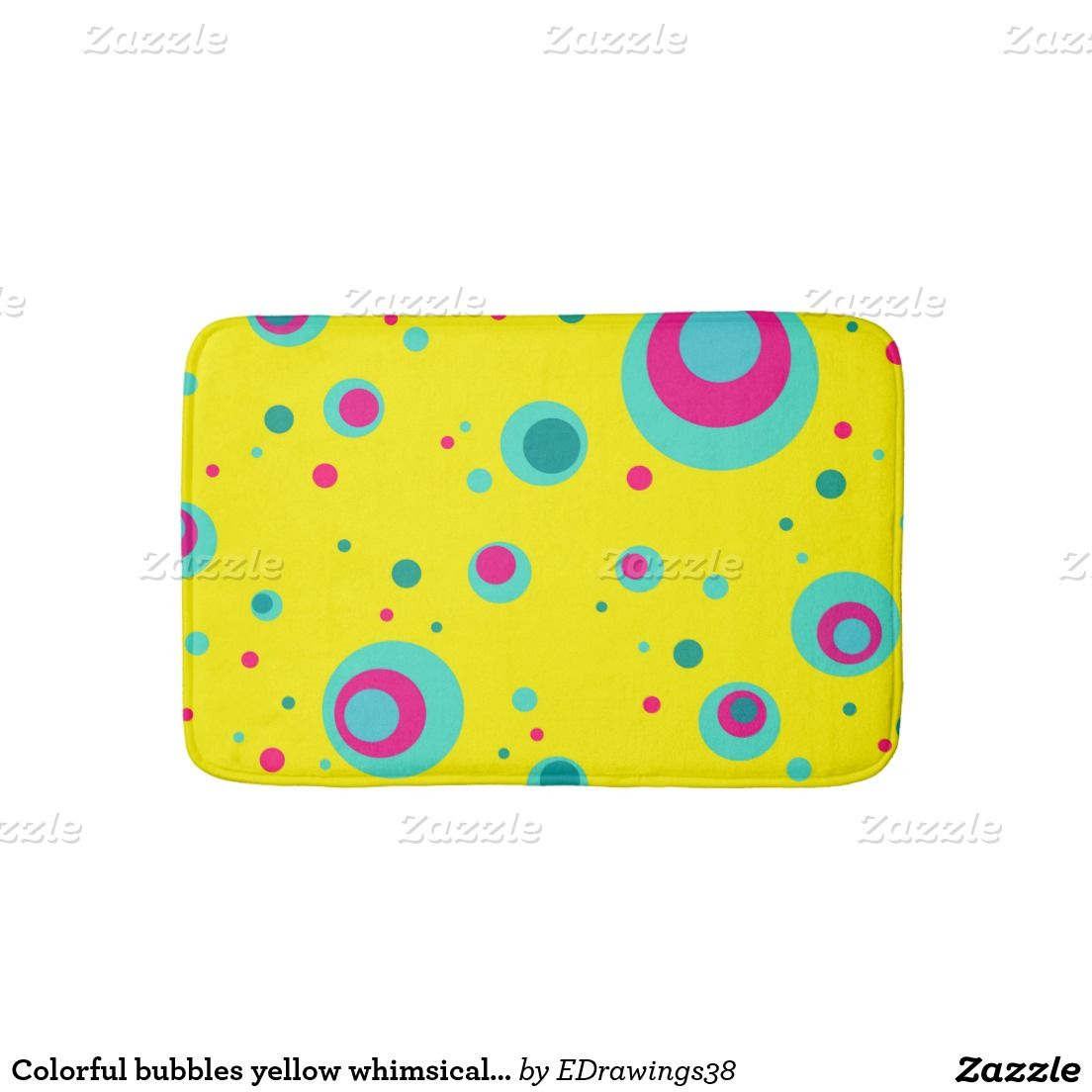 #Colorful #bubbles #yellow whimsical design #bathmats
