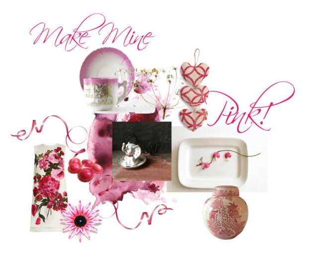 """""""Make Mine Pink!"""" by untried-shop ❤ liked on Polyvore featuring interior, interiors, interior design, home, home decor, interior decorating, Dolce&Gabbana and Mason's"""