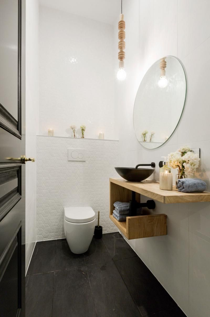 Ruimte licht hout tablet boven wc spiegel interior restroom pinterest spiegel wc en hout - Spiegel wc ontwerp ...