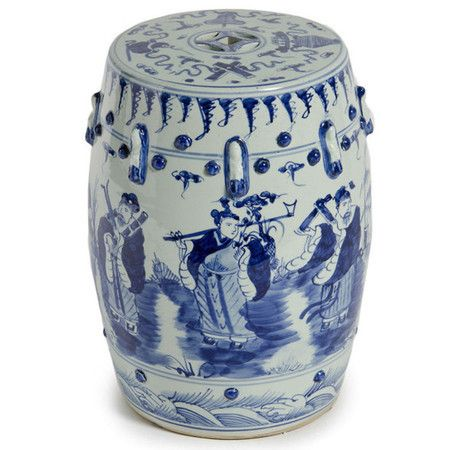 """Eight immortals blue and white garden stool, 13""""w x 17""""h, $225"""