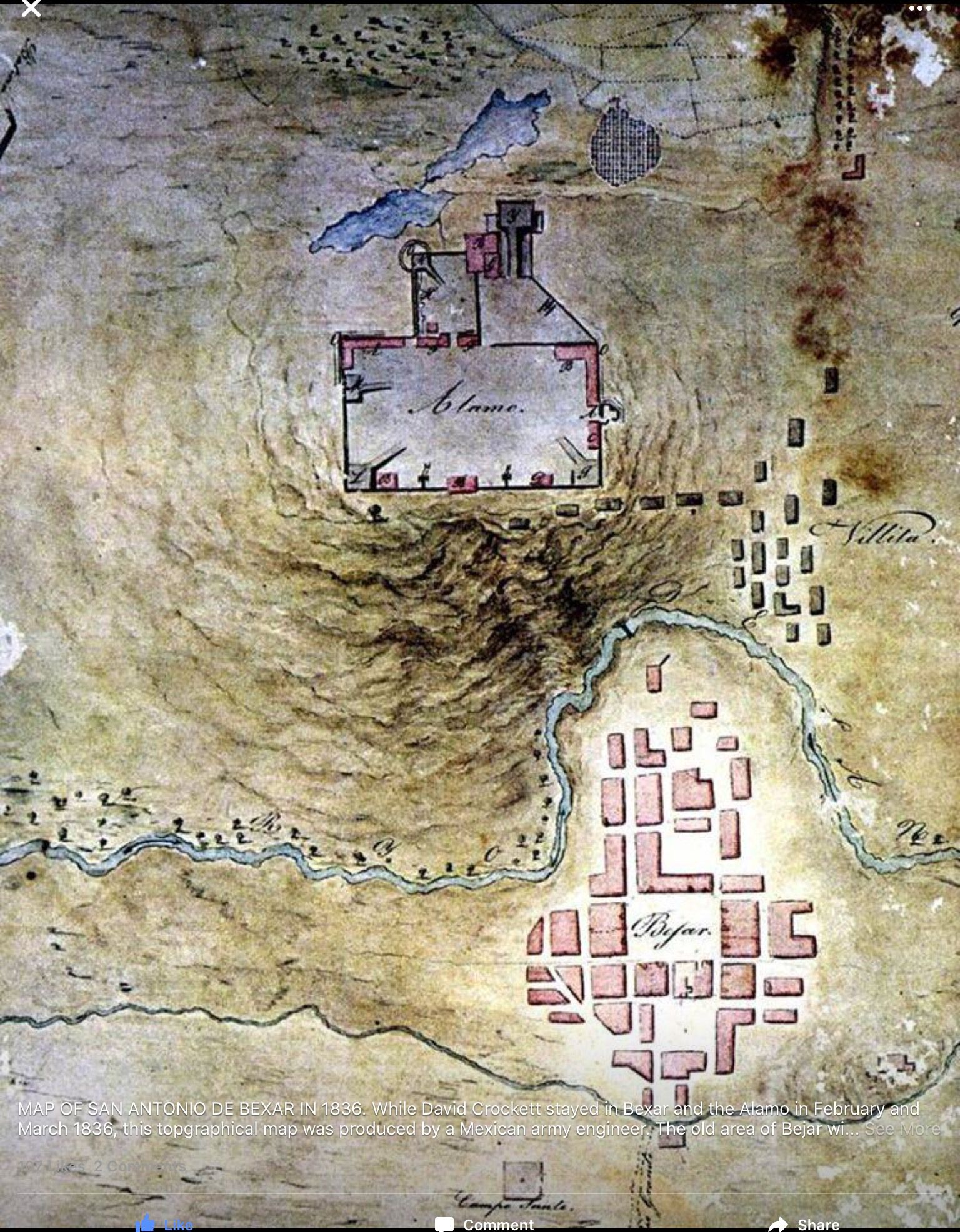 Topo Map Made By A Mexican Army Engineer THE ALAMO Pinterest - Battle of san jacinto map us