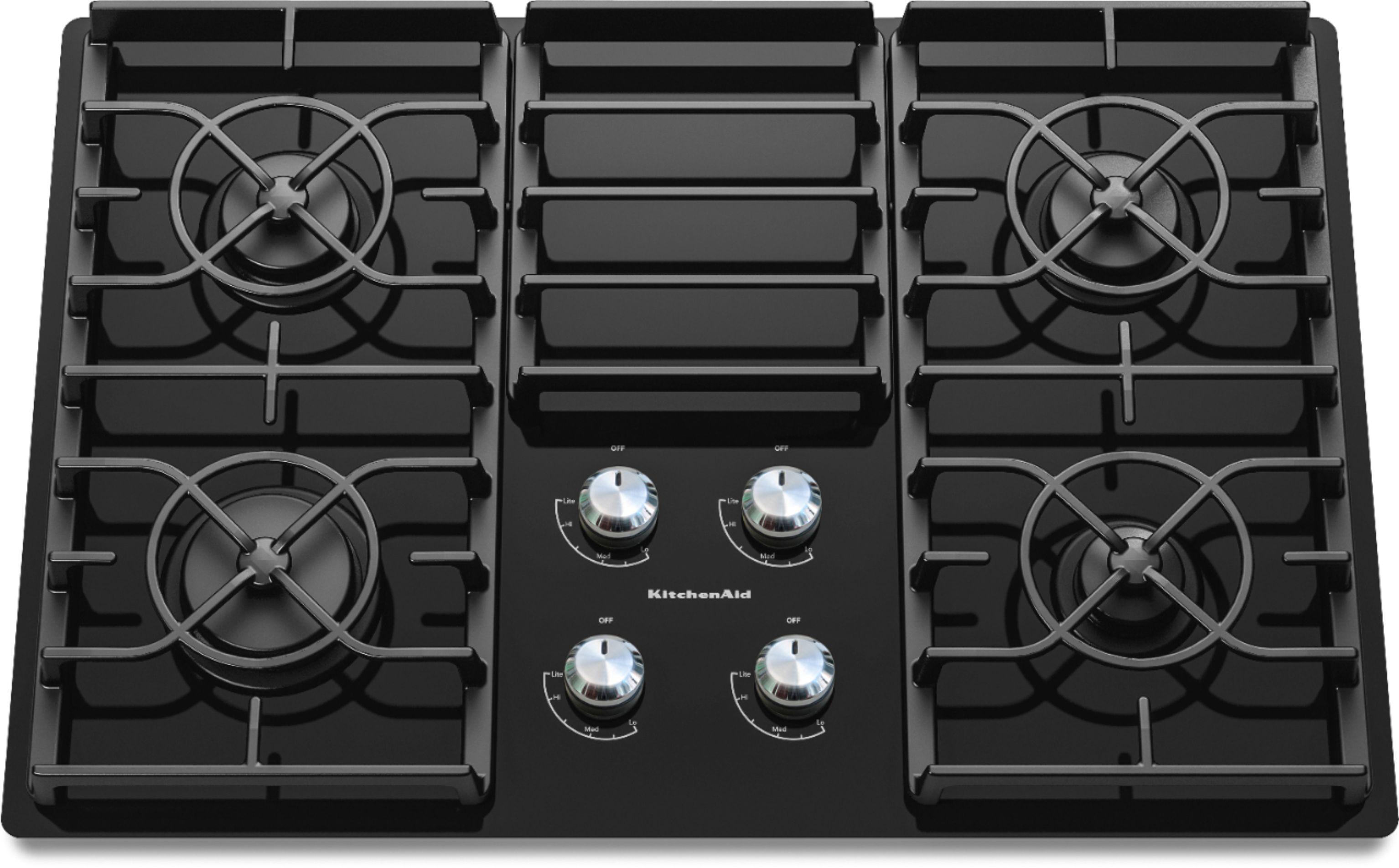Kitchenaid 30 Built In Gas Cooktop Black Kgcc506rbl Best Buy In 2020 Gas Cooktop Glass Cooktop Kitchen Aid Appliances
