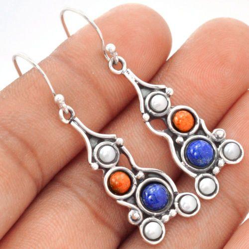 Lapis-Fire-Opal-Pearl-925-Sterling-Silver-Earrings-Jewelry-SE91892