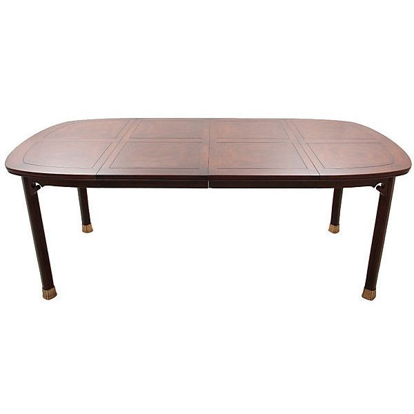 Pre-Owned Henredon Chinoiserie Dining Table ($1,675) via Polyvore featuring home, furniture, tables, dining tables, dark brown, chinoiserie furniture, burl furniture, square table, leaf dining table and square kitchen table