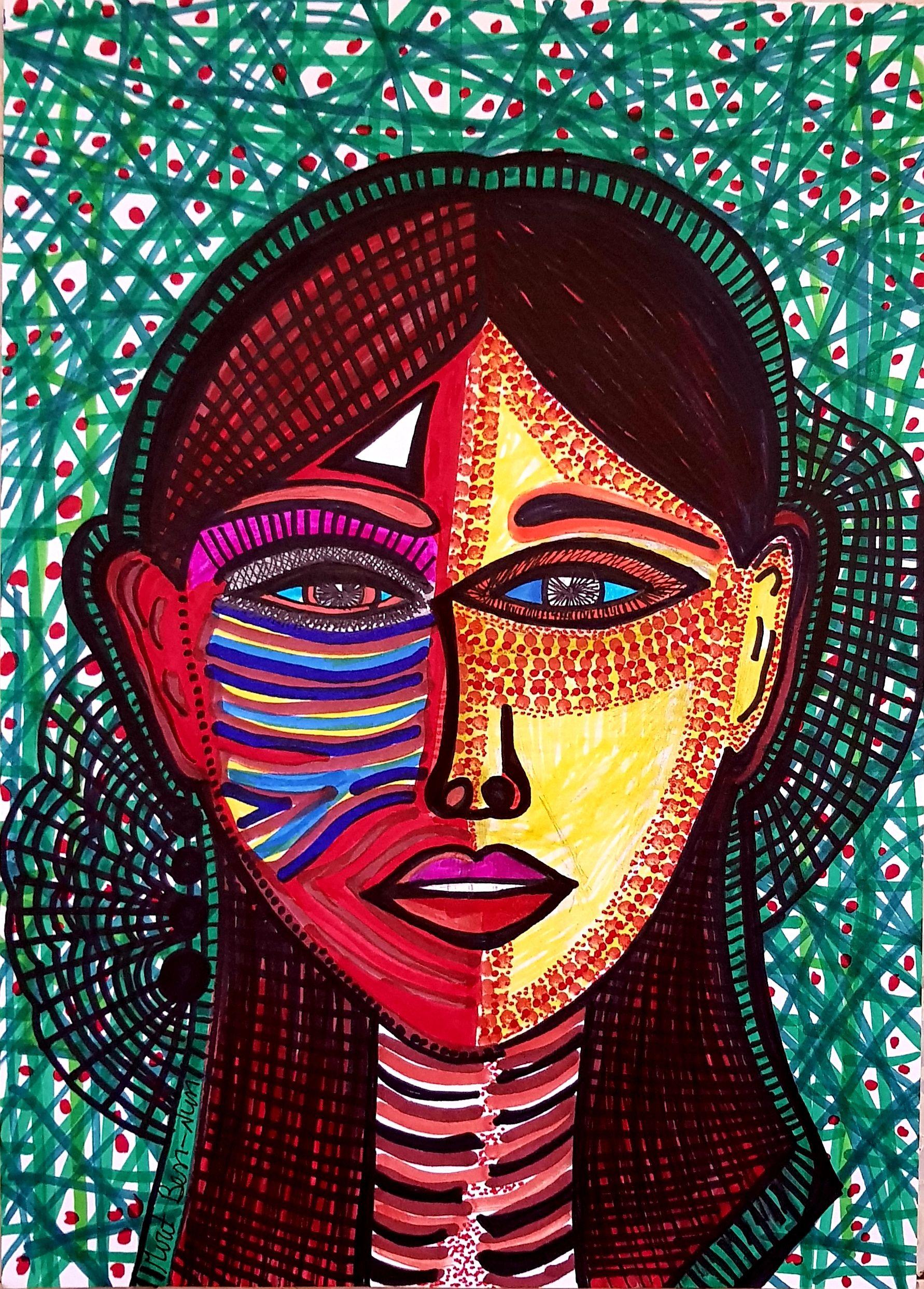 דיוקן עצמי מירית בן נון ציירת ישראלית Acrylic Artwork Drawing Images Painting Drawing