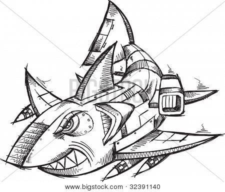 Sketch Doodle Robot Cyborg Shark Vector Illustration ...