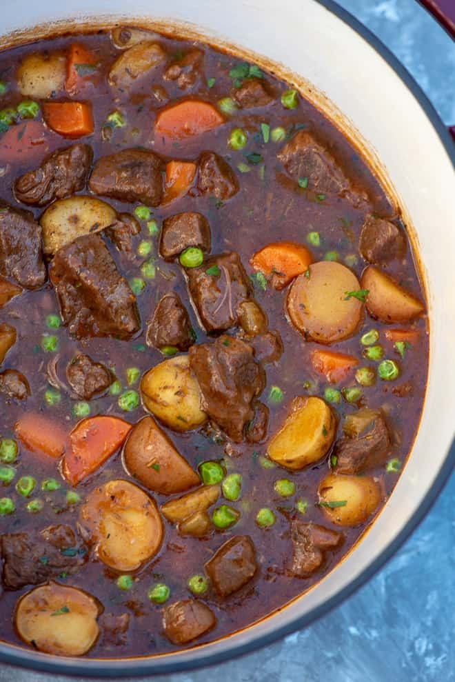 Tender chunks of beef, vibrant veggies, and creamy ...