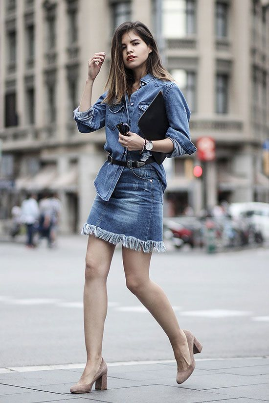 spring outfit, summer outfit, casual outfit, denim on denim outfit, night out outfit, street style - denim shirt, fringe denim mini skirt, nude block heel pumps, black double buckle belt, black clutch