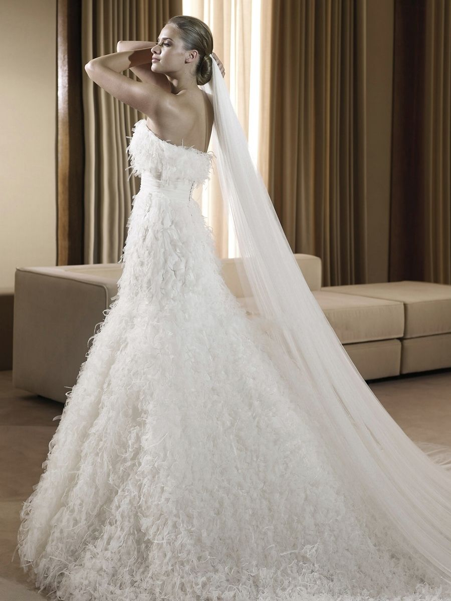 Feather wedding dress with classic strapless neckline empire waist