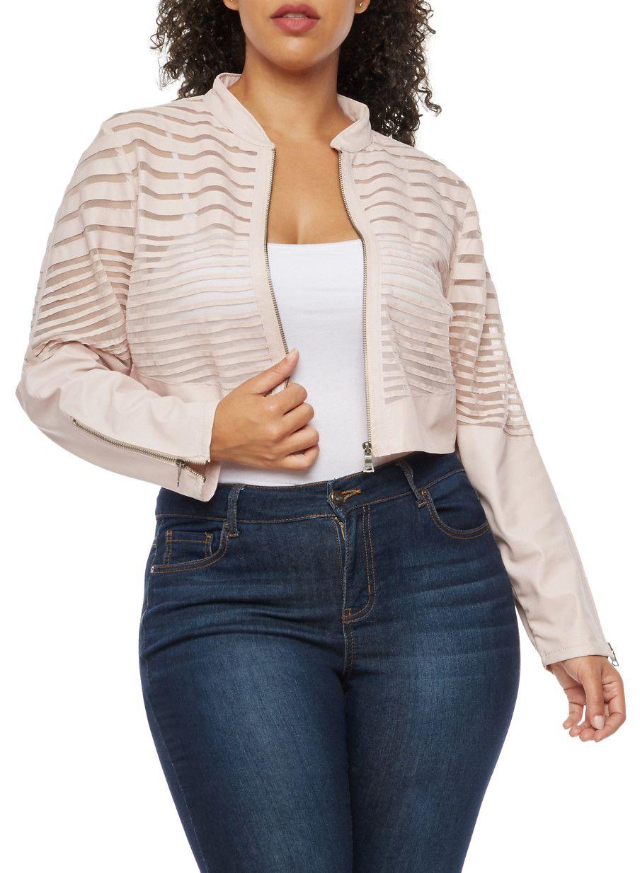Plus Size Faux Leather Mesh Stripe Cropped Jacket,BLUSH