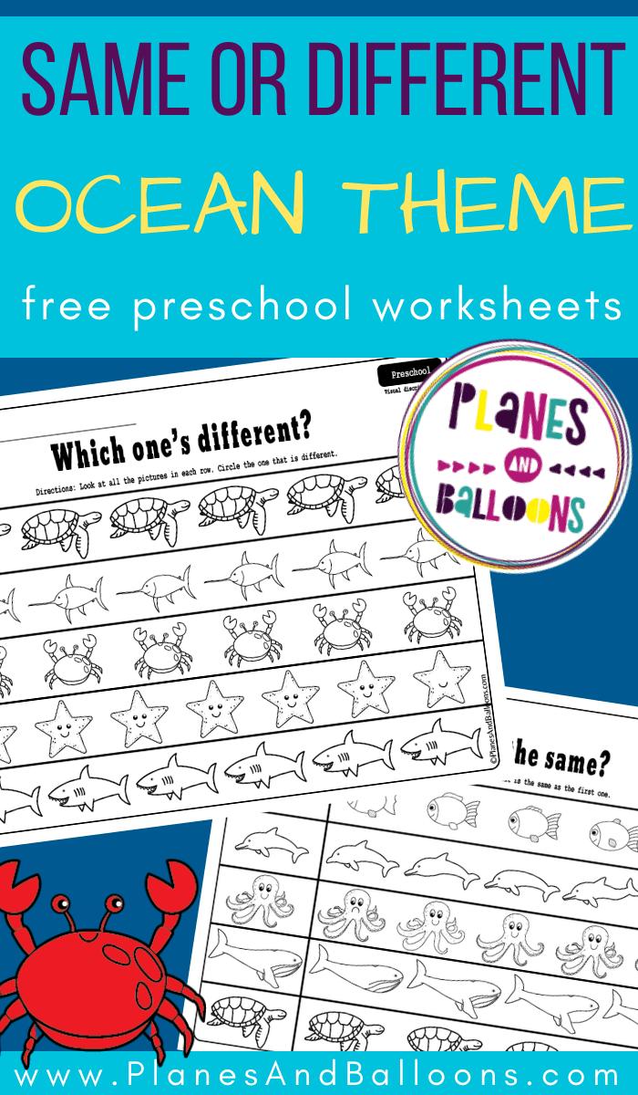 Ocean Same Or Different Activity Preschool Worksheets Free Printables Preschool Worksheets Free Preschool Worksheets [ 1200 x 700 Pixel ]