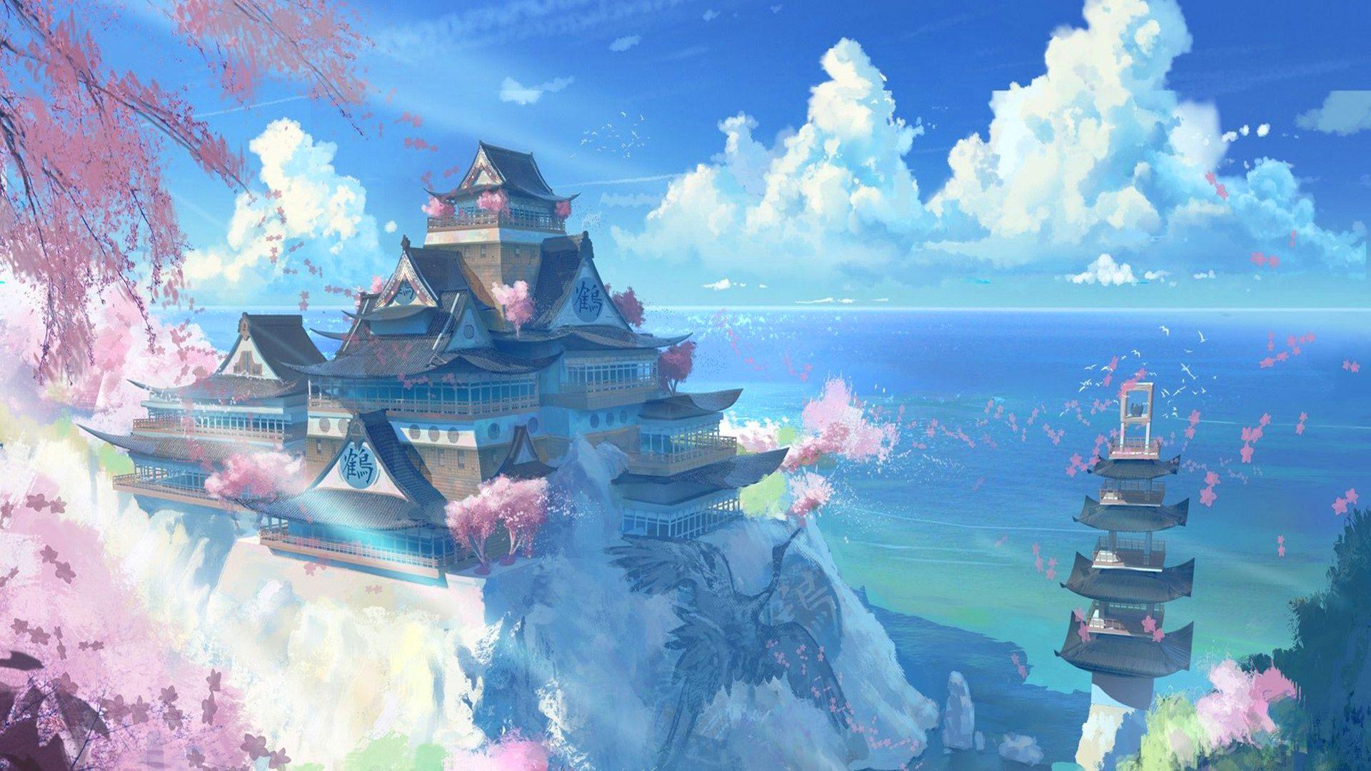 free japan temple scenery anime manga computer desktop