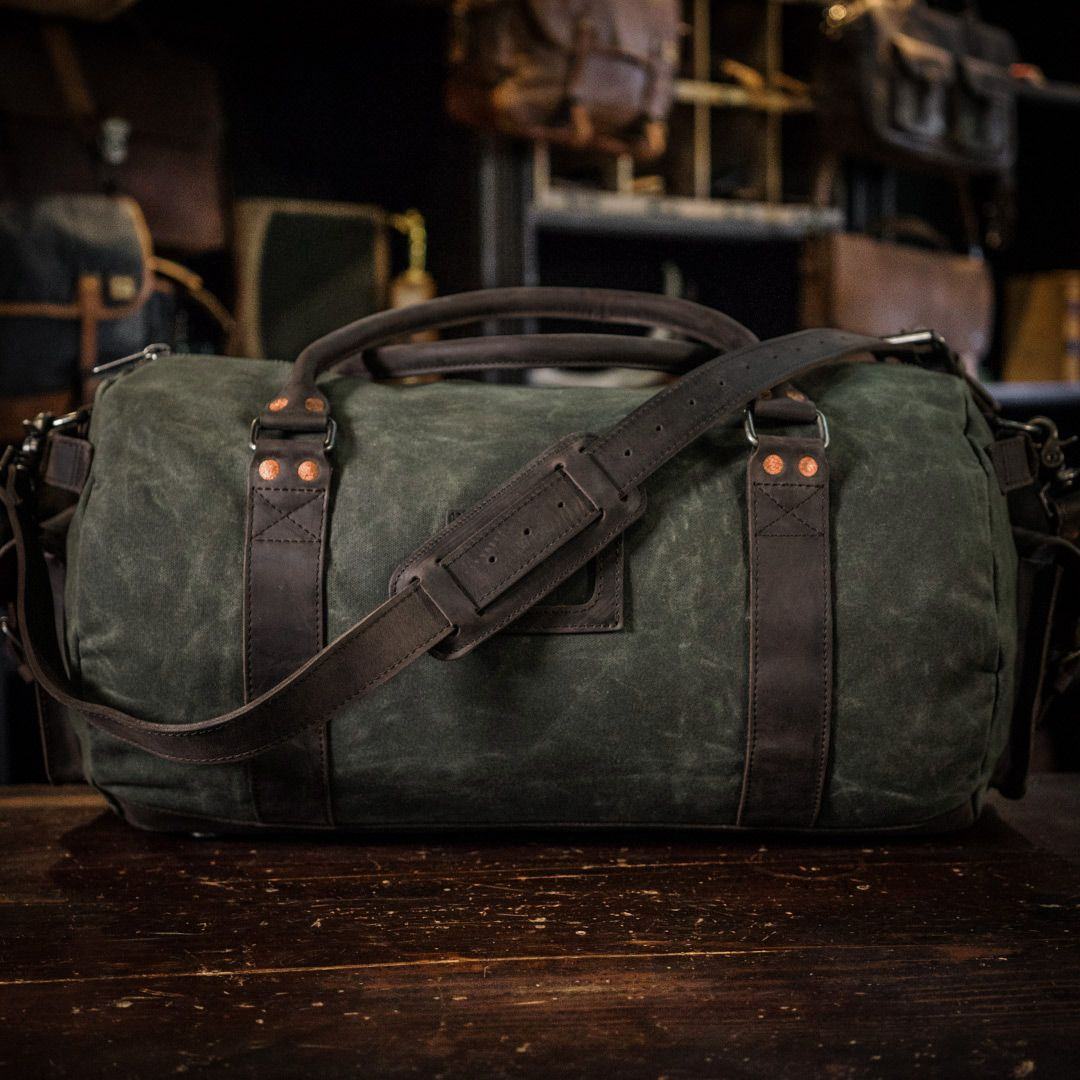1a02565103 Elkton Duffle Travel Bag - Green Waxed Canvas and Dark Walnut Leather -  Large