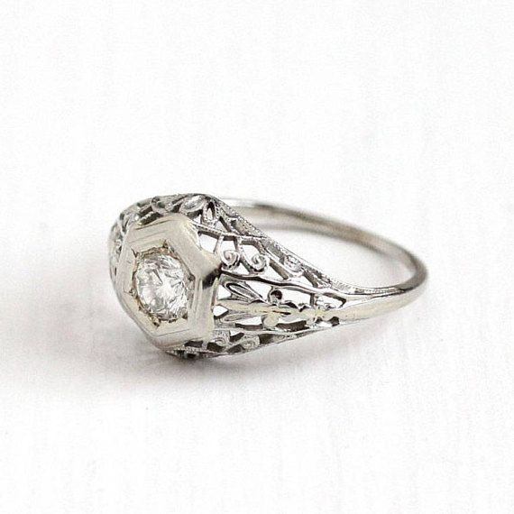 Sale Antique 18k White Gold Art Deco Solitaire 1 3 Carat Diamond Ring 1920s Size 6 Antique Rings Vintage Vintage Engagement Rings Antique Engagement Rings