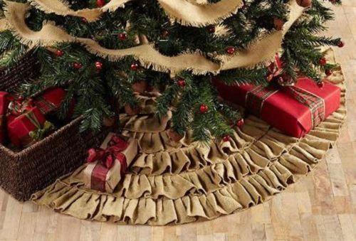 Details About Large Christmas Tree Skirt Primitive Burlap