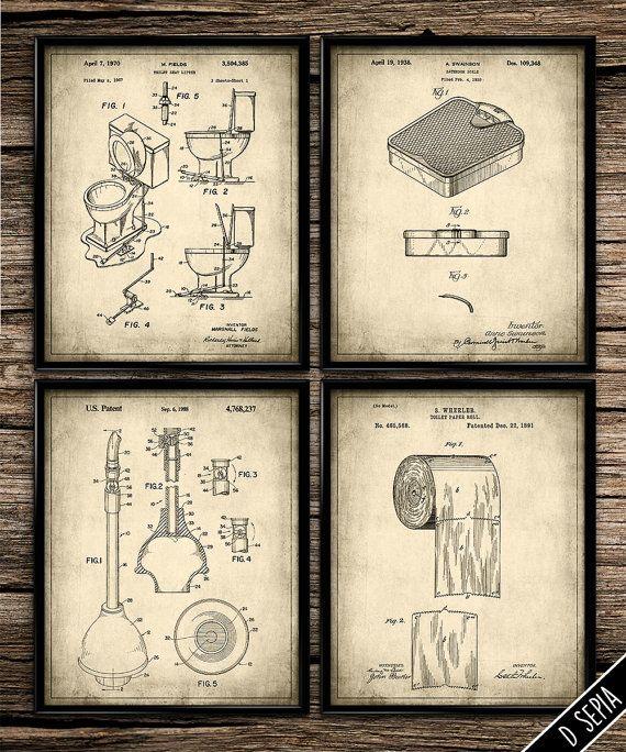 Vintage Bathroom Set Vintage Prints Patent Print Bathroom