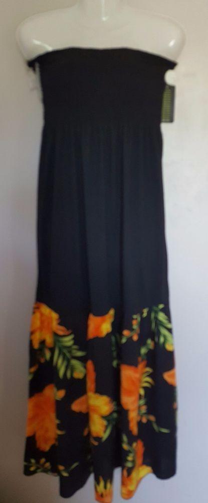 Just Love  Size1X Black & Hibiscus Flower Strapless Cotton Blend Maxi Sundress #JustLove #Maxi #Casual