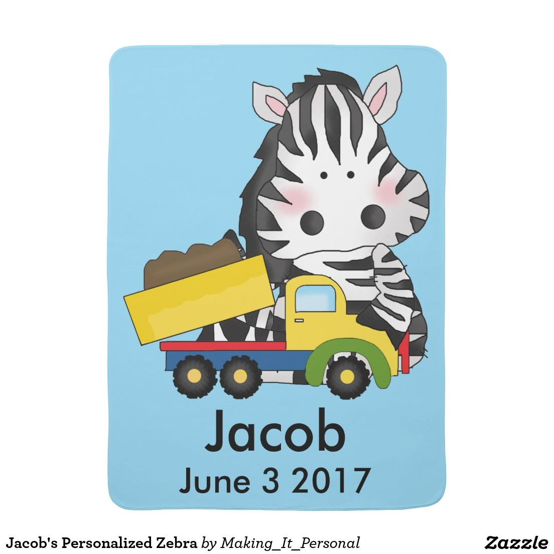 Jacob's Personalized Zebra Stroller Blanket
