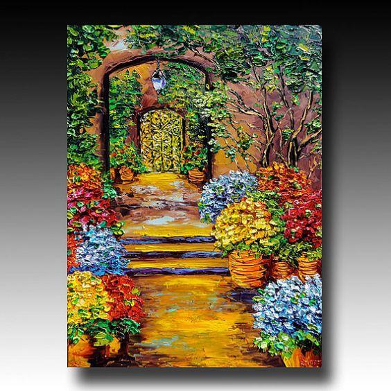 B. Sasik New Orleans Original Oil Painting SECRET GARDEN ART: