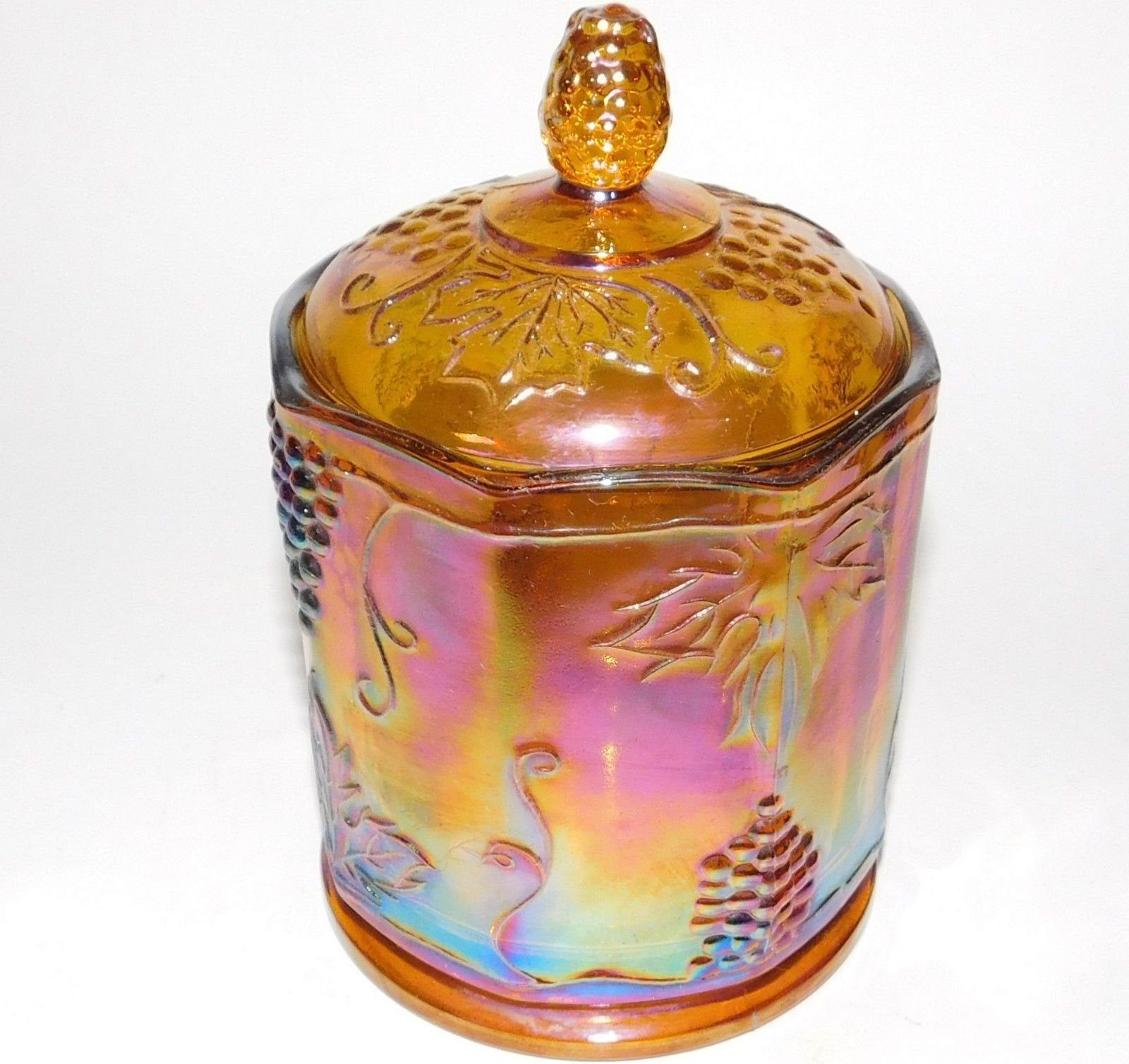 Indiana Glass Harvest Marigold Carnival Glass Biscuit Jar   Etsy ...