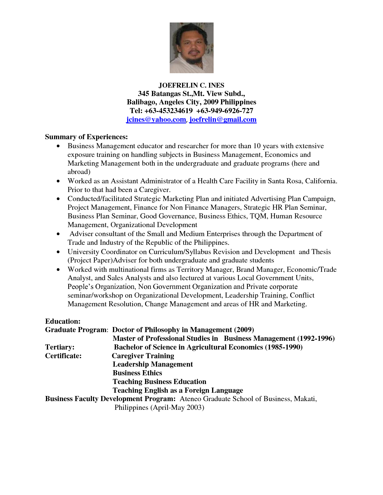 sample resume for college professor resume professor sample