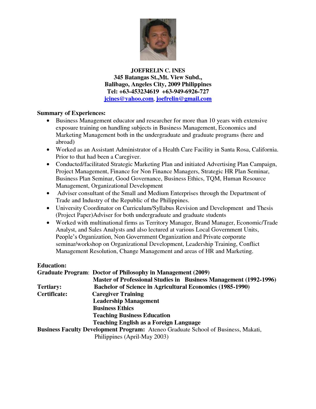 Sample Cv Lecturer Business Management Business Management Management Graduate Program