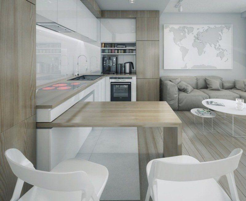 Plan de travail cuisine 50 idées de matériaux et couleurs Open - Table De Cuisine Avec Plan De Travail