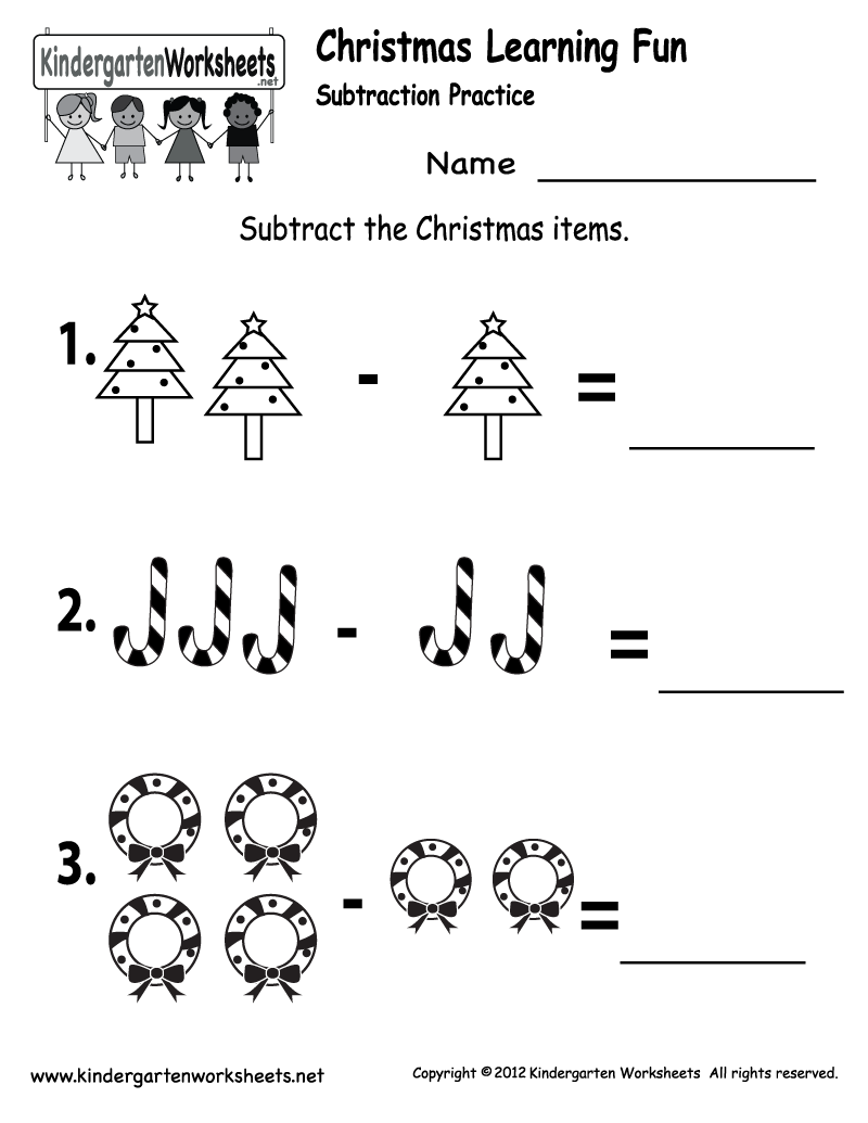Kindergarten Worksheets Printable – Christmas Subtraction Worksheets