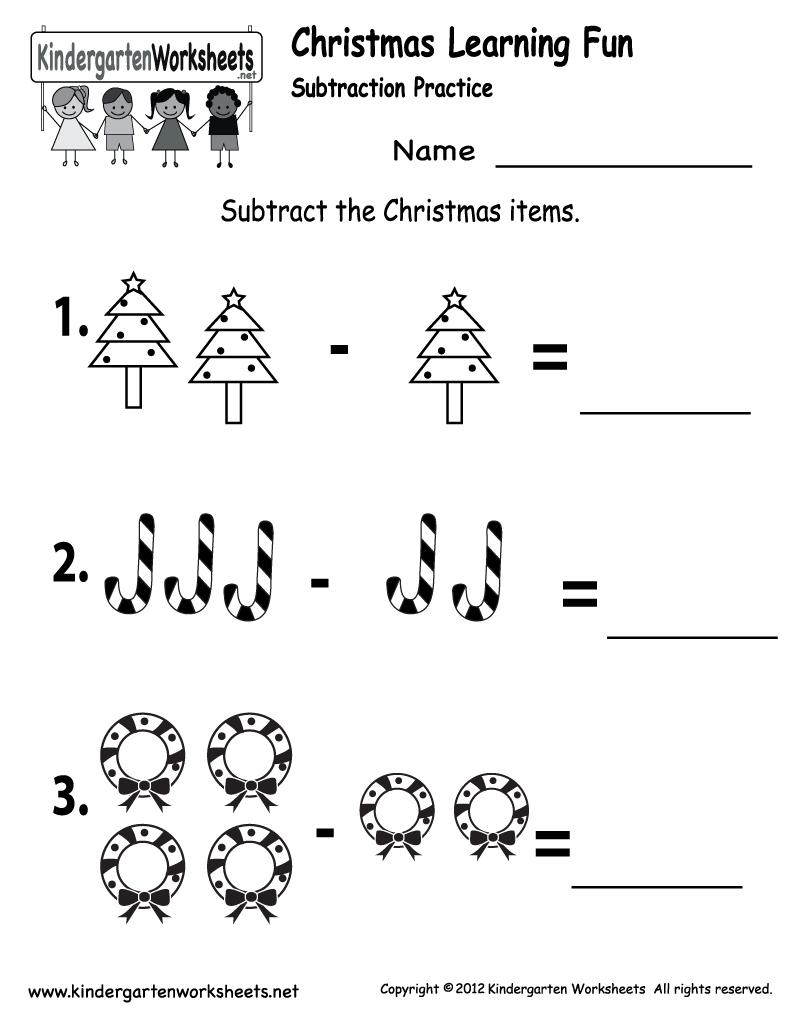 Kindergarten Worksheets Printable | ... Subtraction Worksheet - Free  Kindergarten Holiday Worksheet for Kids