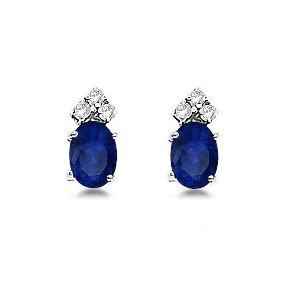 Oval Blue Sapphire And Diamond Stud Earrings 14k White Gold 1 24ct In 2020 Sapphire And Diamond Earrings Diamond Earrings Studs Birthstone Earring