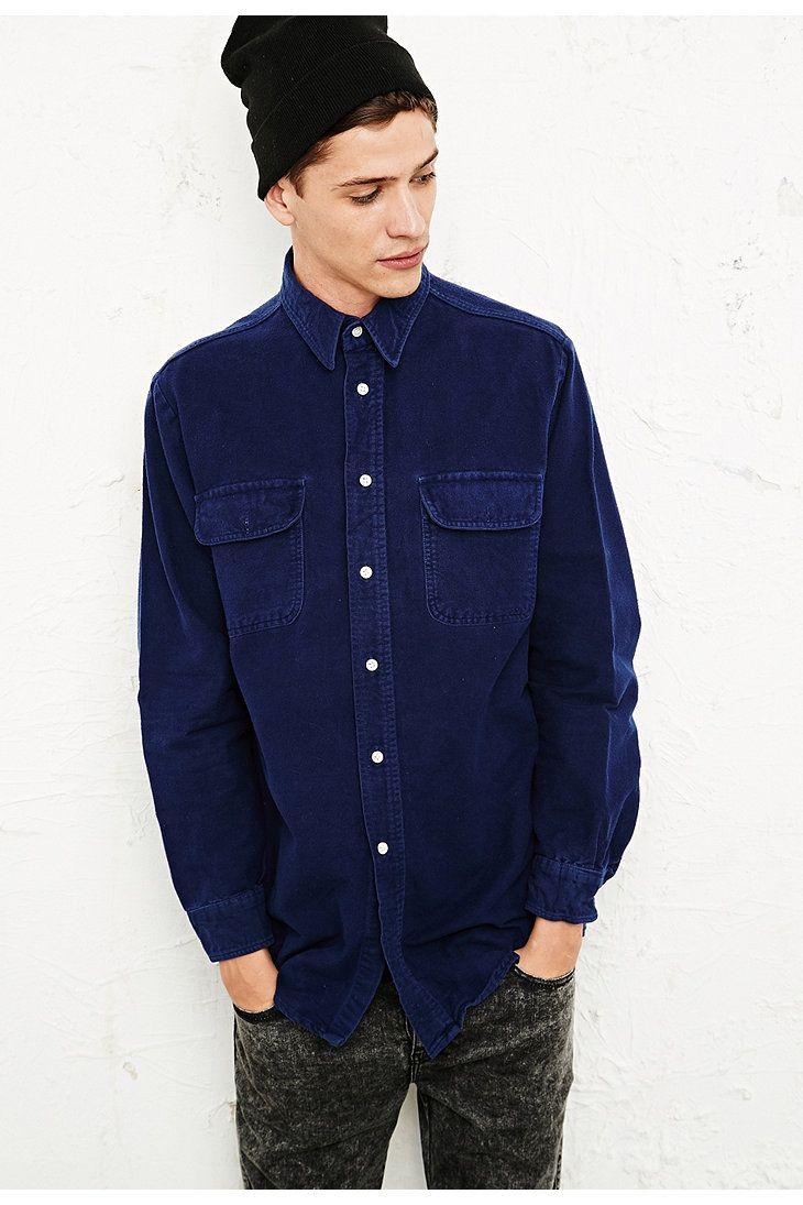 Flannel shirt vintage  Vintage Renewal Solid Flannel Shirt in Navy  痞  Pinterest