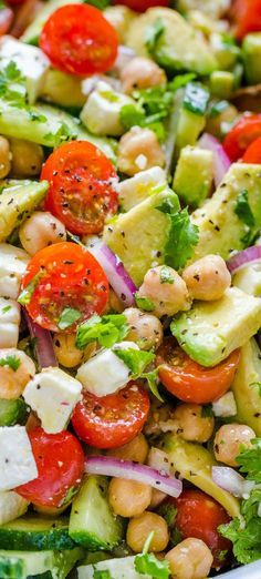 Chickpea Salad is so healthy fresh healthy and packed with protein! Did you know garbanzo beans were the same thing as chickpeas? AThis is one feel good garbanzo bean salad!! It keeps you feeling full and satisfied for hours. #garbanzobeansalad #garbanzobeans #chickpeasalad #chickpearecipes #healthyrecipes #saladrecipes #easysalad #easylunchideas #lunch #sidedish #natashaskitchen