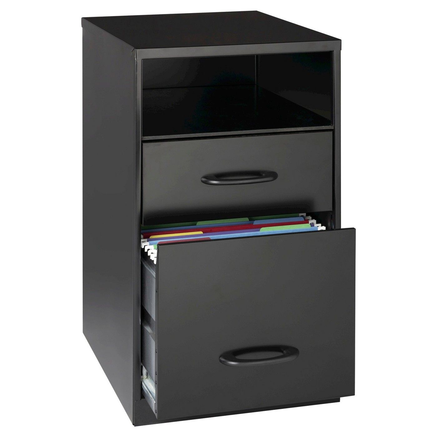Hirsh Industries Space Solutions File Cabinet Black 2 Drawer With Compartment Black Image 1 Of Filing Cabinet 2 Drawer File Cabinet Home Office Cabinets