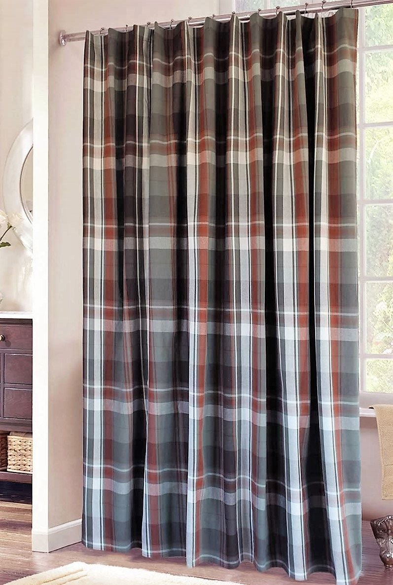 Plaid Shower Curtain Grey Rust White Cabin Shower Curtain