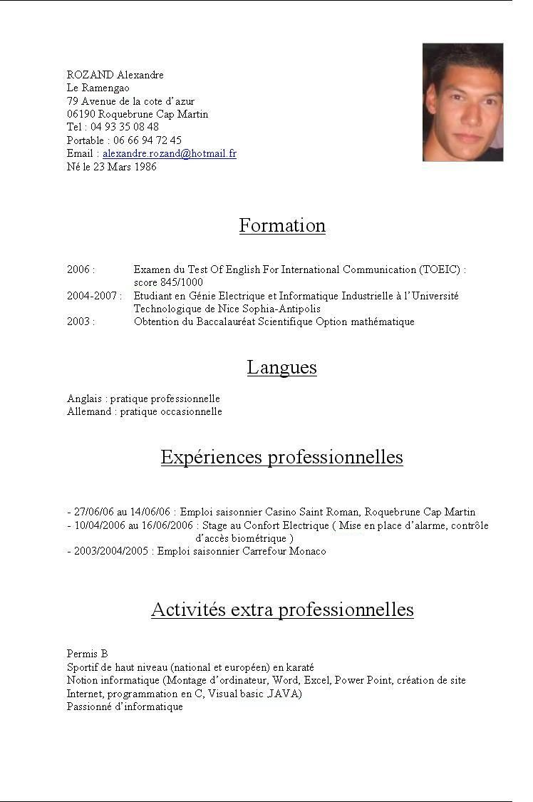 Cv En Francais Education Image