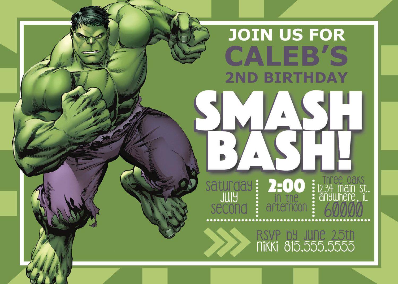 Digital Incredible Hulk Birthday Invitation Hulk Birthday Hulk Birthday Parties Incredible Hulk Birthday Party