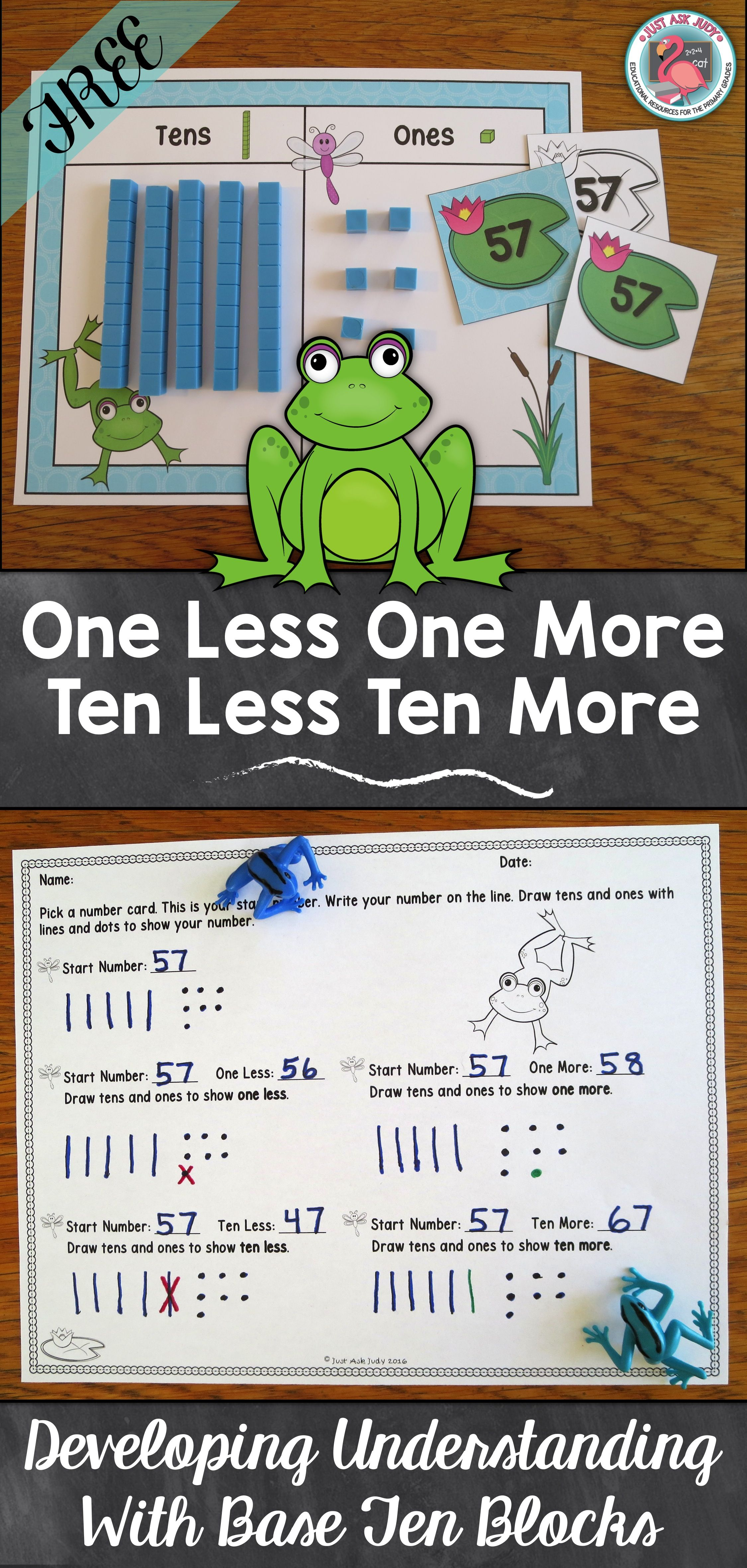 1 Less 1 More 10 Less 10 More Activity With Base Ten
