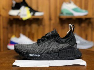 first rate 15118 80b82 Mens Adidas Originals NMD R1 Primeknit Boost Pitch Black S80489 Running  Shoes