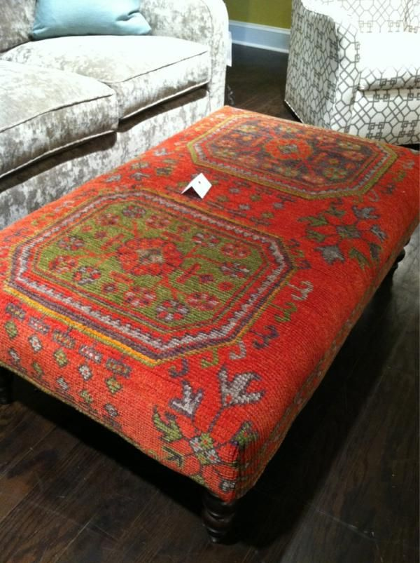 Loving these kilim rug covered ottomans at c r laine for Americanhome com